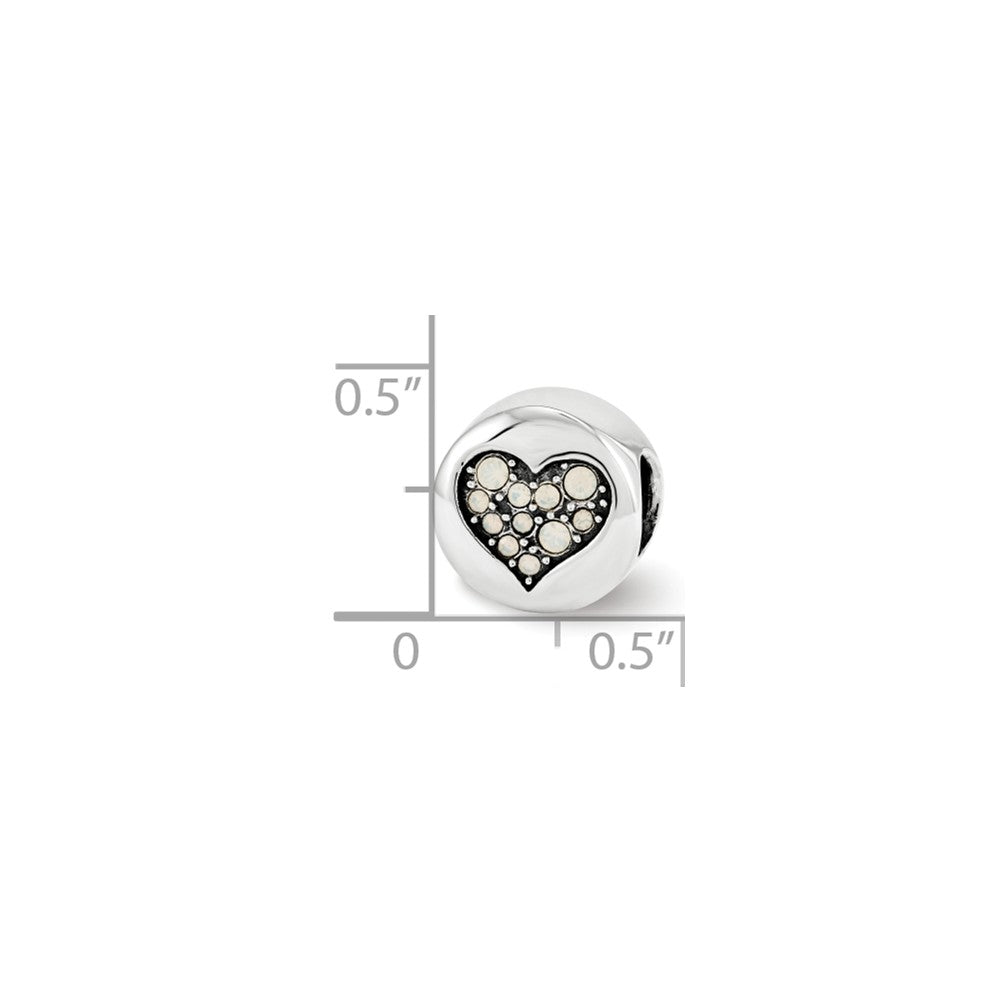 Alternate view of the Sterling Silver with Swarovski Crystals June Heart Clarity Bead Charm by The Black Bow Jewelry Co.
