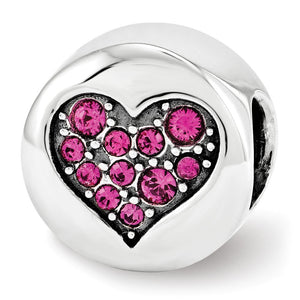 July Pink Heart Passion Charm in Silver with Swarovski Crystals