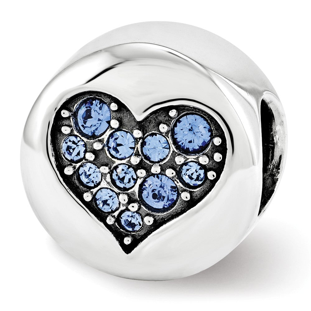 Sterling Silver with Swarovski Crystals Sept Blue Heart Wisdom Bead, Item B12353 by The Black Bow Jewelry Co.