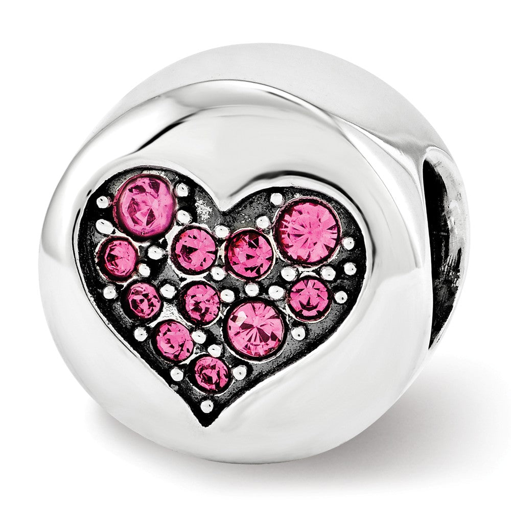Sterling Silver with Swarovski Crystals Oct Pink Heart Hope Bead Charm, Item B12354 by The Black Bow Jewelry Co.