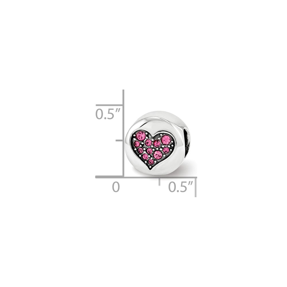 Alternate view of the Sterling Silver with Swarovski Crystals Oct Pink Heart Hope Bead Charm by The Black Bow Jewelry Co.
