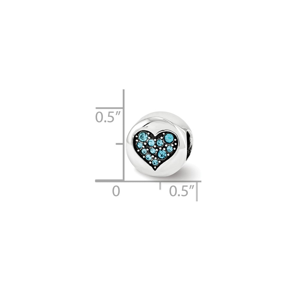 Alternate view of the Dec Lt Blue Heart Luck Charm in Silver with Swarovski Crystals by The Black Bow Jewelry Co.