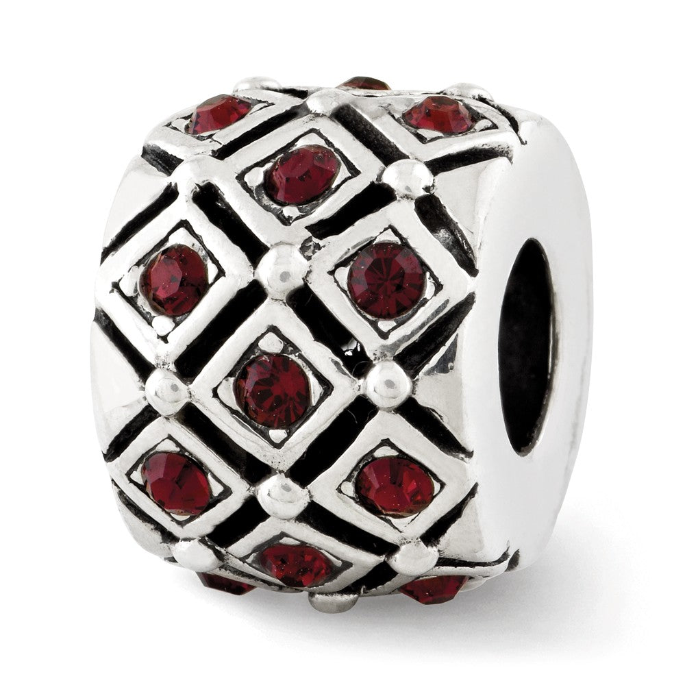 Sterling Silver with Swarovski Crystals Jan Dark Red Lattice Bead, Item B12357 by The Black Bow Jewelry Co.