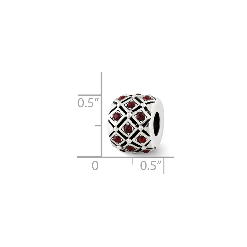 Alternate view of the Sterling Silver with Swarovski Crystals Jan Dark Red Lattice Bead by The Black Bow Jewelry Co.