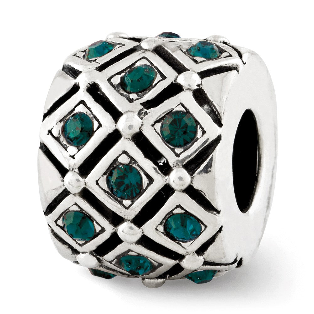 Sterling Silver with Swarovski Crystals May Green Lattice Bead Charm, Item B12361 by The Black Bow Jewelry Co.