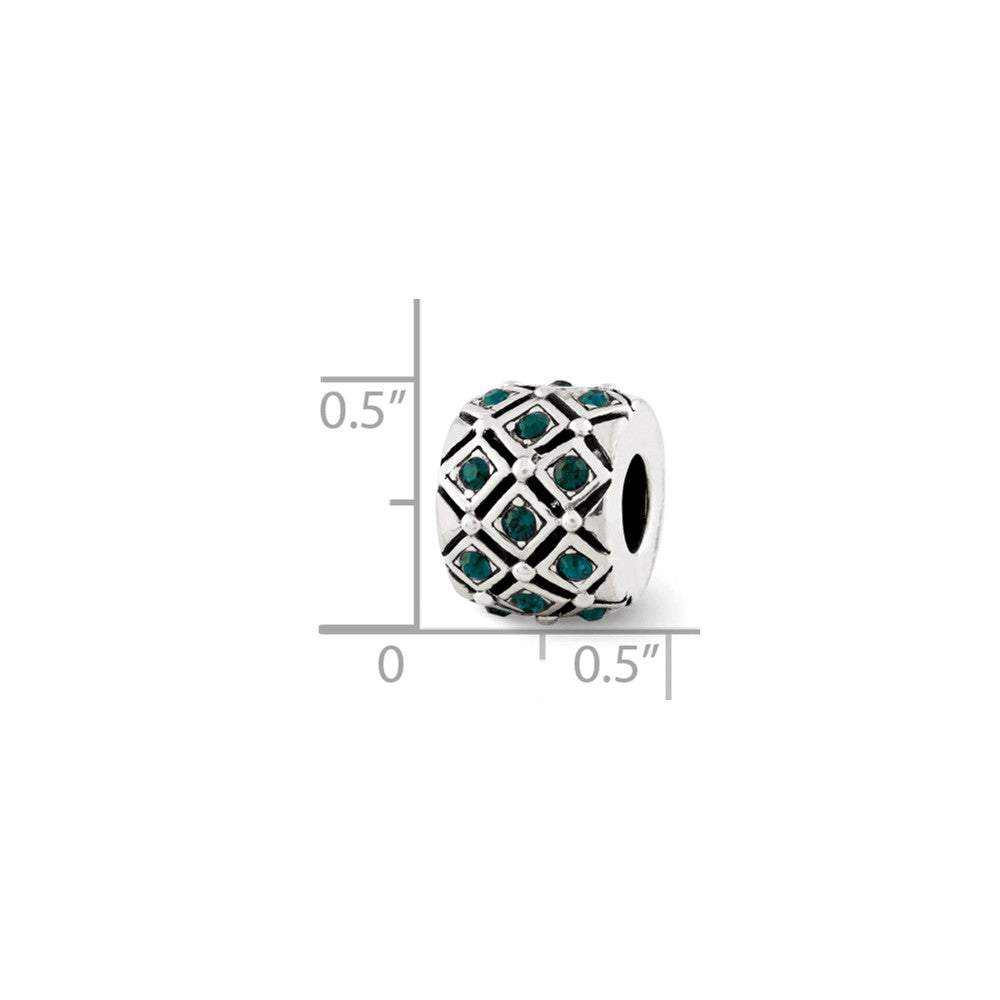 Alternate view of the Sterling Silver with Swarovski Crystals May Green Lattice Bead Charm by The Black Bow Jewelry Co.