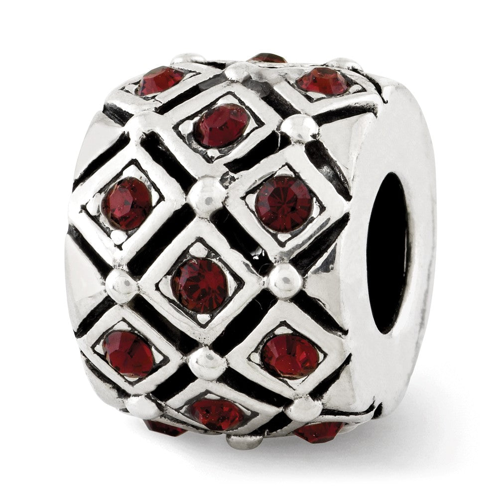 Sterling Silver w Swarovski Crystals June Raspberry Lattice Bead Charm, Item B12362 by The Black Bow Jewelry Co.