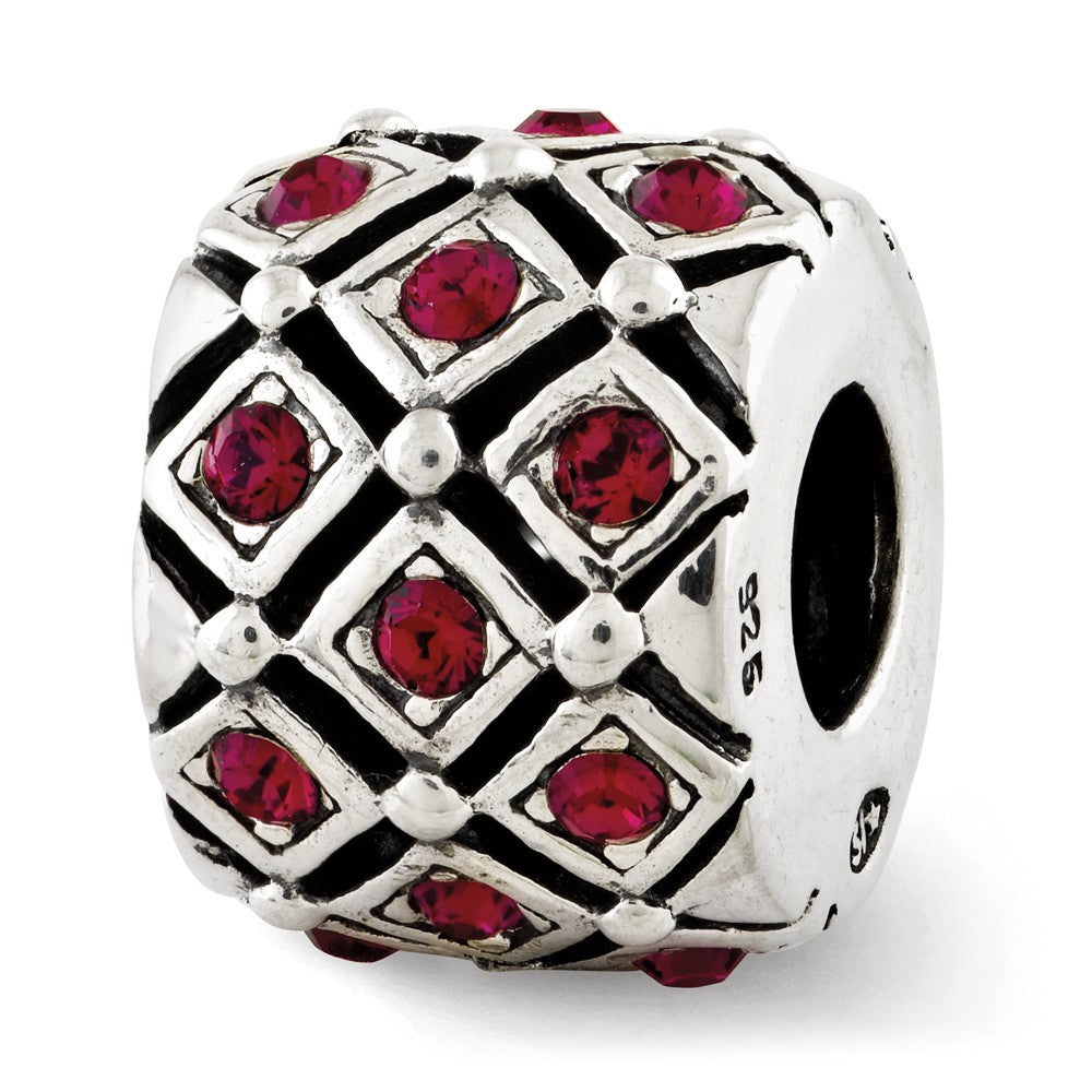 July Dark Pink Lattice Charm in Silver with Swarovski Crystals, Item B12363 by The Black Bow Jewelry Co.