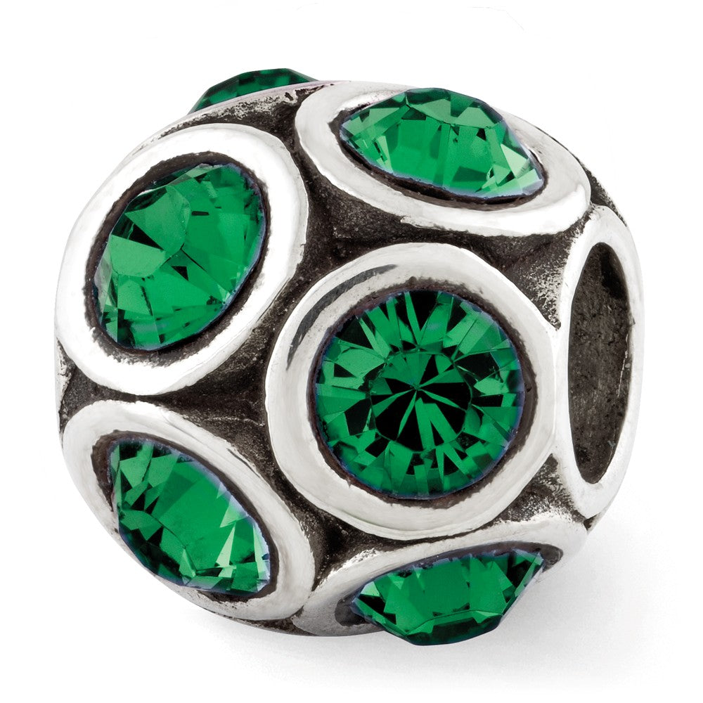 Sterling Silver with Swarovski Crystals May Green Bubble Bead Charm, Item B12373 by The Black Bow Jewelry Co.