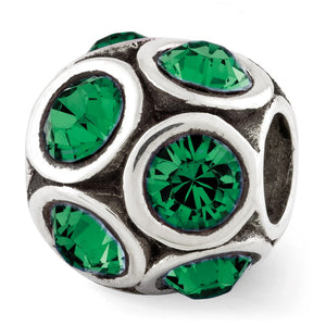Sterling Silver with Swarovski Crystals May Green Bubble Bead Charm - The Black Bow Jewelry Co.