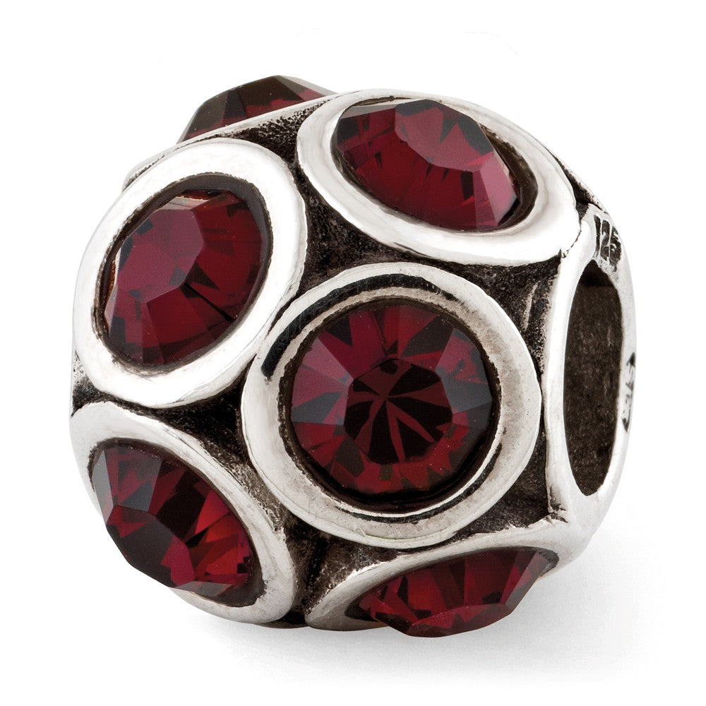 Sterling Silver with Swarovski Crystals June Raspberry Bubble Bead, Item B12374 by The Black Bow Jewelry Co.