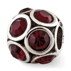 Sterling Silver with Swarovski Crystals June Raspberry Bubble Bead - The Black Bow Jewelry Co.