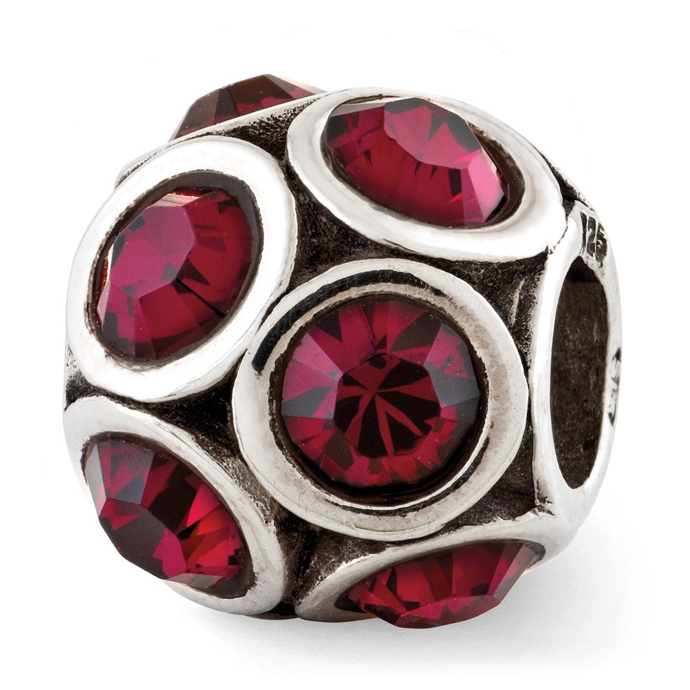 Sterling Silver with Swarovski Crystals July Dark Pink Bubble Bead, Item B12375 by The Black Bow Jewelry Co.