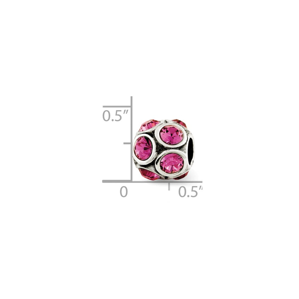 Alternate view of the Sterling Silver with Swarovski Crystals October Pink Bubble Bead Charm by The Black Bow Jewelry Co.