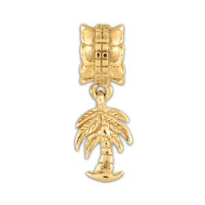 Palm Tree Dangle Charm in 14k Yellow Gold Plated Sterling Silver - The Black Bow Jewelry Co.