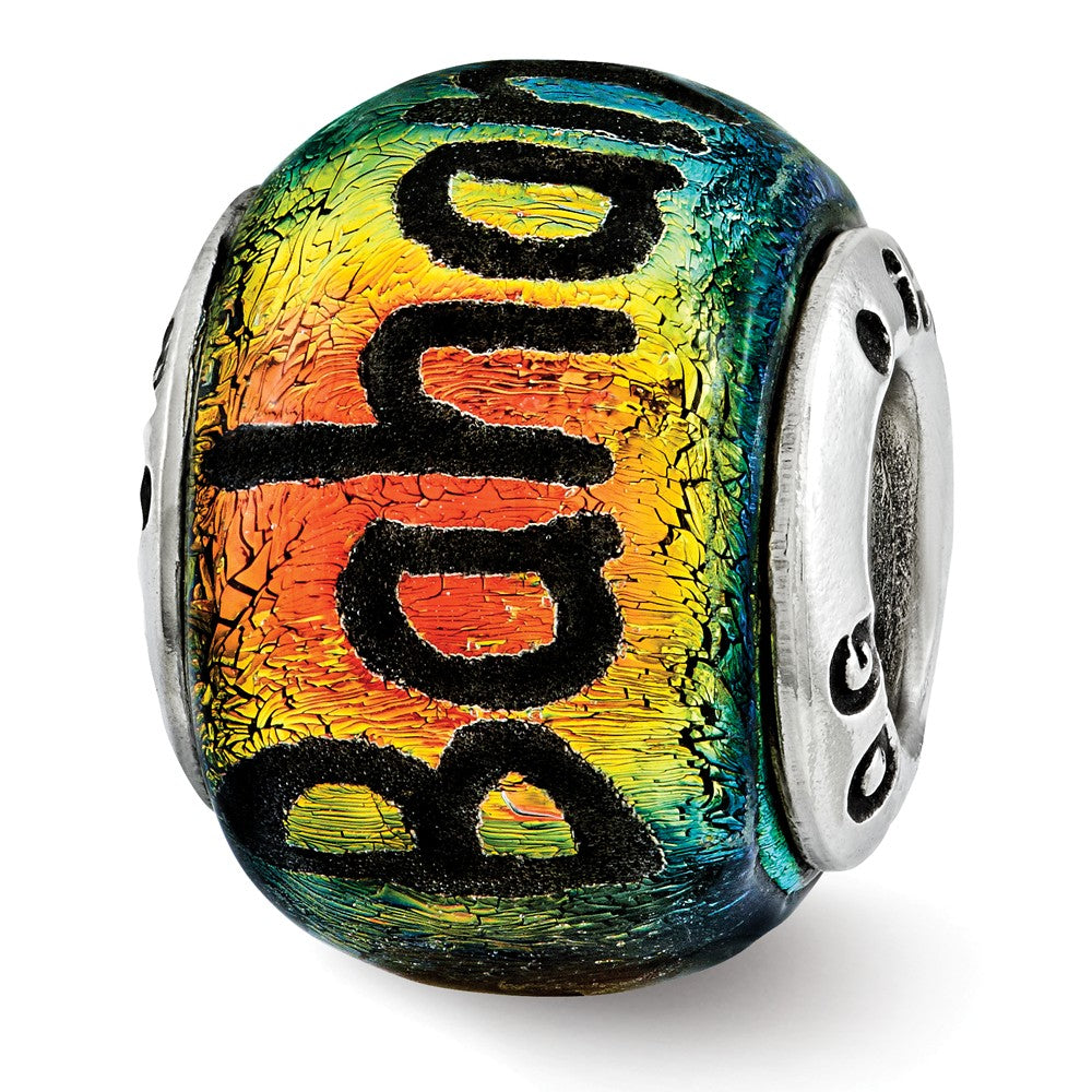 Bahama & Palm Trees Orange Dichroic Glass & Sterling Silver Charm, Item B12399 by The Black Bow Jewelry Co.