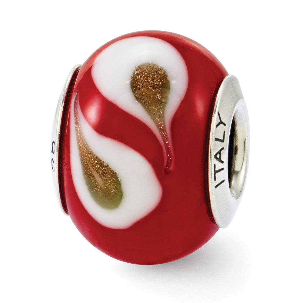 Red Brown White Italian Murano Glass & Sterling Silver Charm, Item B12414 by The Black Bow Jewelry Co.