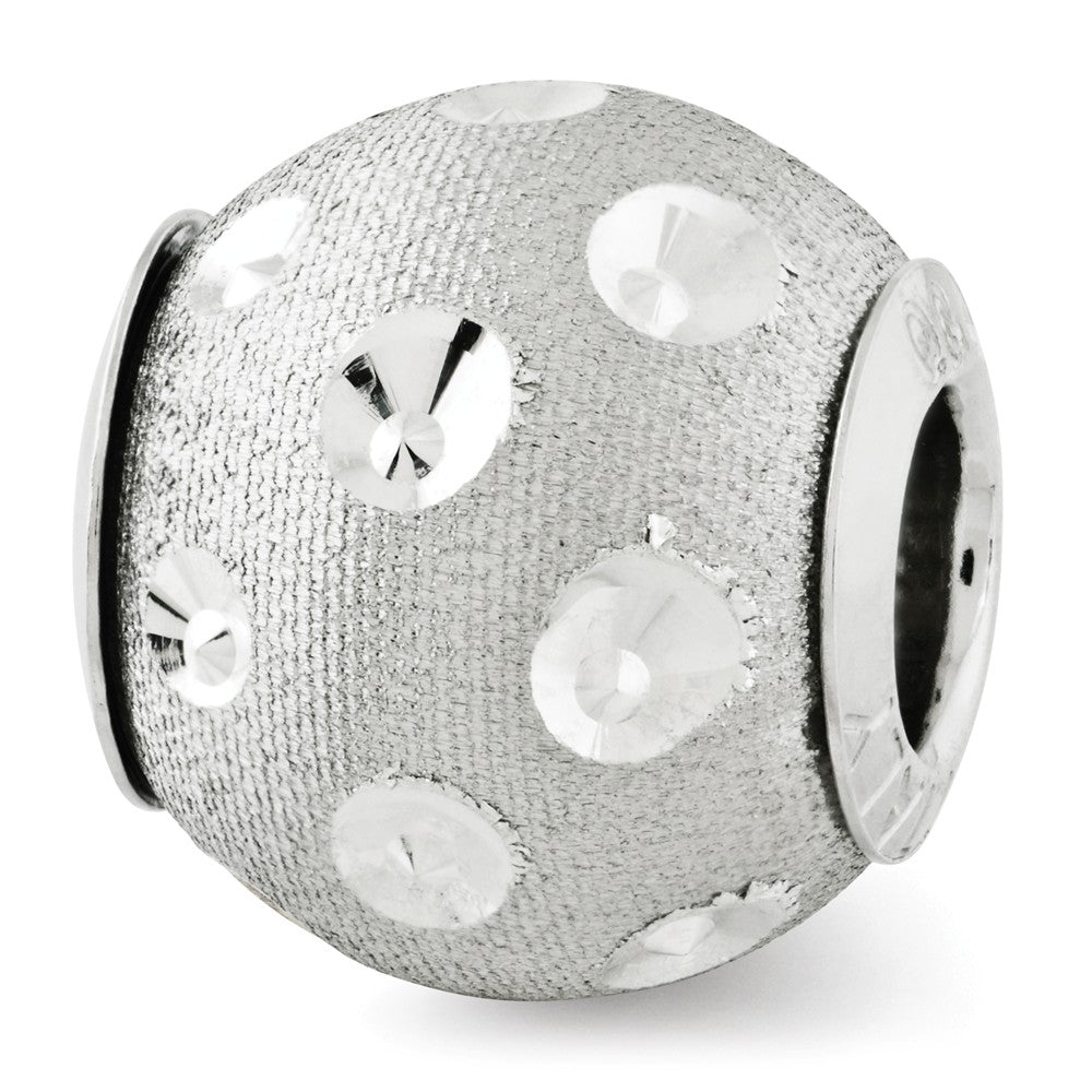Textured & Diamond Cut Spotted Sterling Silver Charm, Item B12490 by The Black Bow Jewelry Co.
