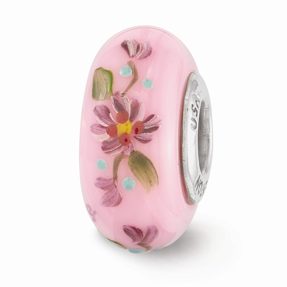 Fenton Pink Hand Painted Hope Floral Glass & Sterling Silver Charm, Item B12518 by The Black Bow Jewelry Co.