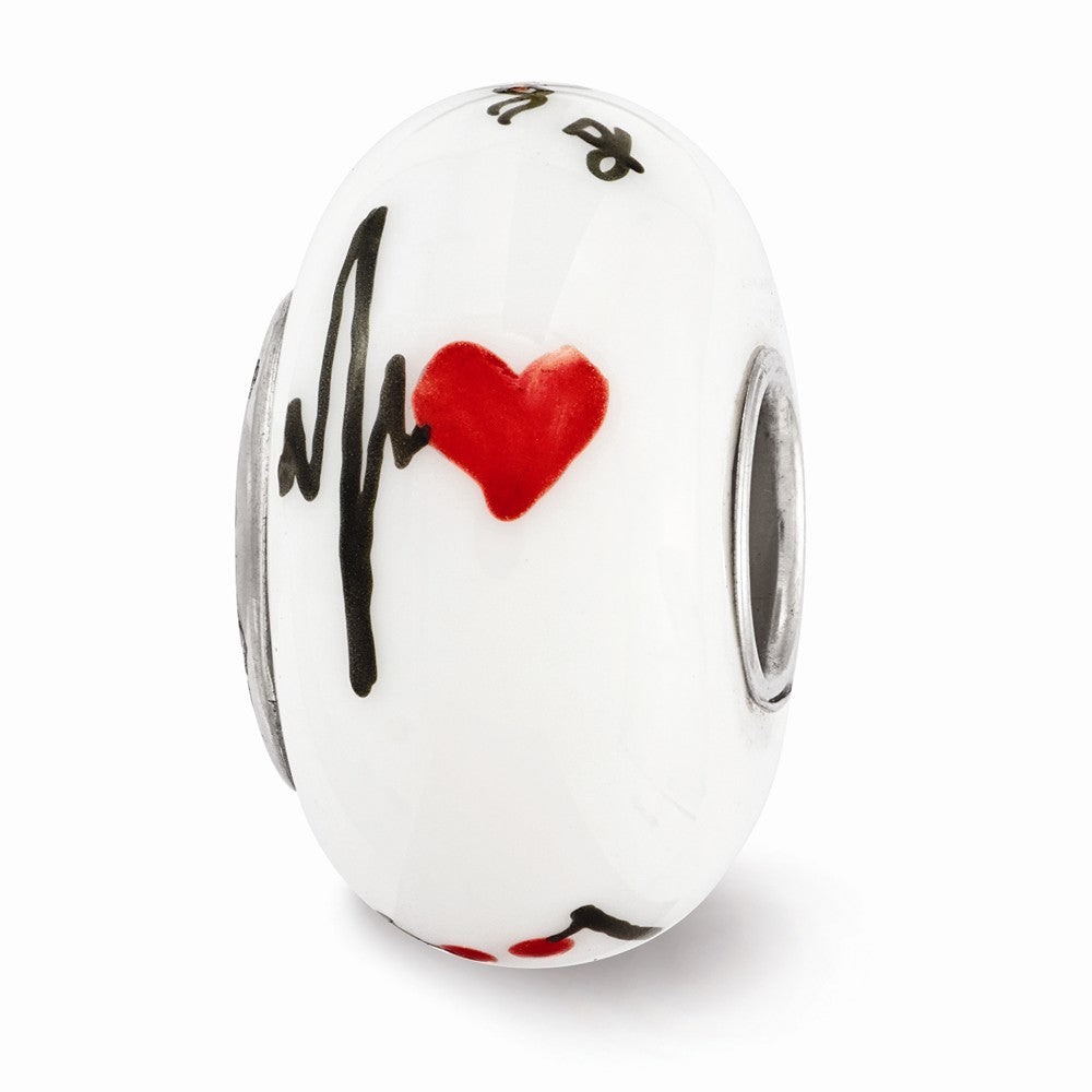 Alternate view of the Fenton White Hand Painted RX Medical Glass & Sterling Silver Charm by The Black Bow Jewelry Co.