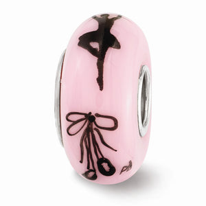 Alternate view of the Fenton Pink Hand Painted Ballerina Glass & Sterling Silver Charm by The Black Bow Jewelry Co.