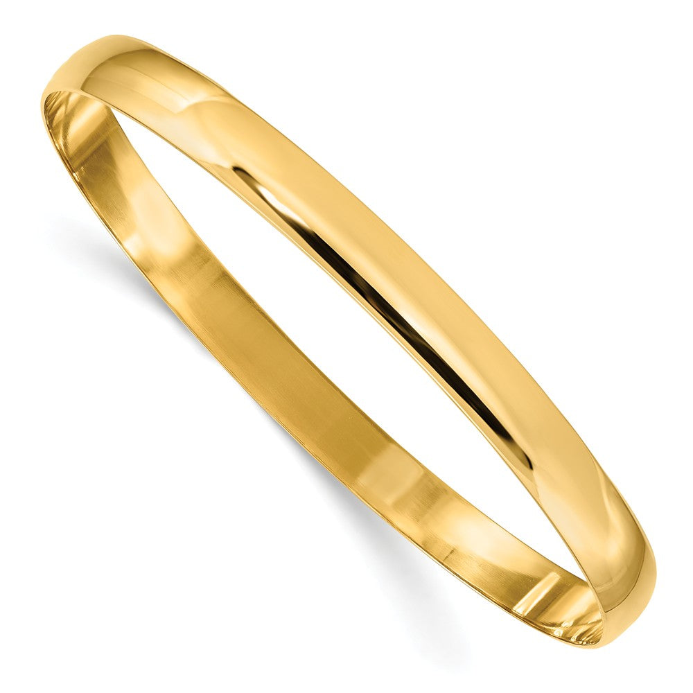 6mm 14k Yellow Gold Polished Half Round Solid Bangle Bracelet, Item B12599 by The Black Bow Jewelry Co.