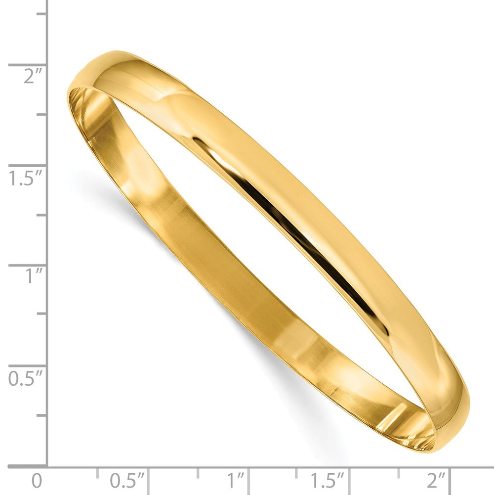 Alternate view of the 6mm 14k Yellow Gold Polished Half Round Solid Bangle Bracelet by The Black Bow Jewelry Co.