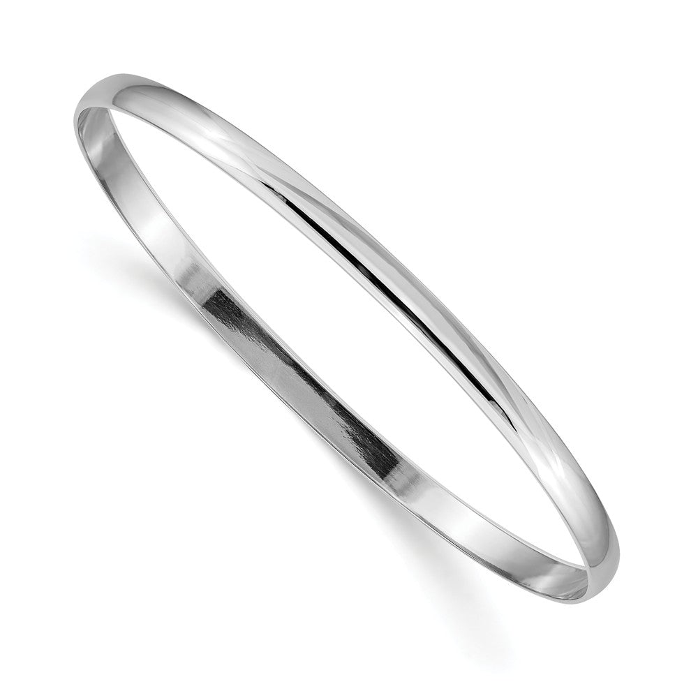 4mm 14k White Gold Polished Half Round Solid Bangle Bracelet, Item B12602 by The Black Bow Jewelry Co.
