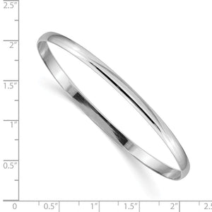 Alternate view of the 4mm 14k White Gold Polished Half Round Solid Bangle Bracelet by The Black Bow Jewelry Co.