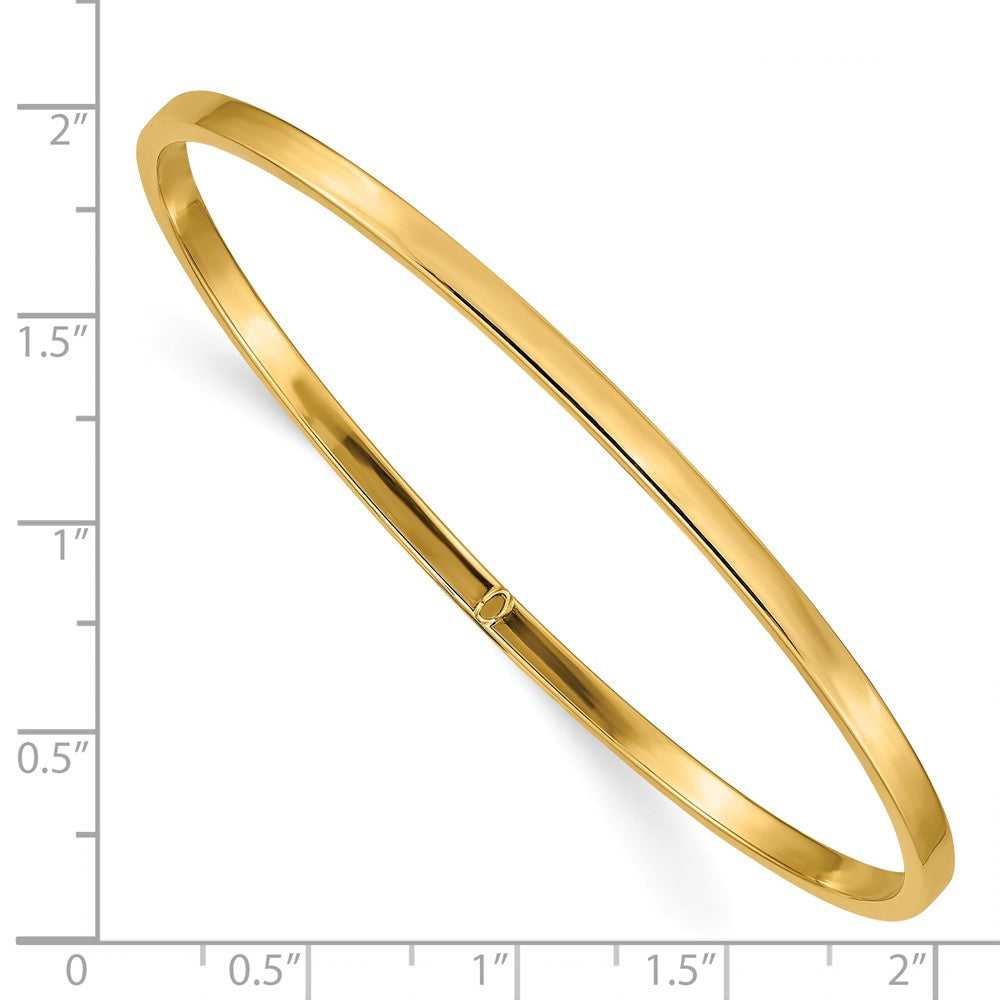 Alternate view of the 3mm 14k Yellow Gold Polished Hollow Square Tube Bangle Bracelet by The Black Bow Jewelry Co.