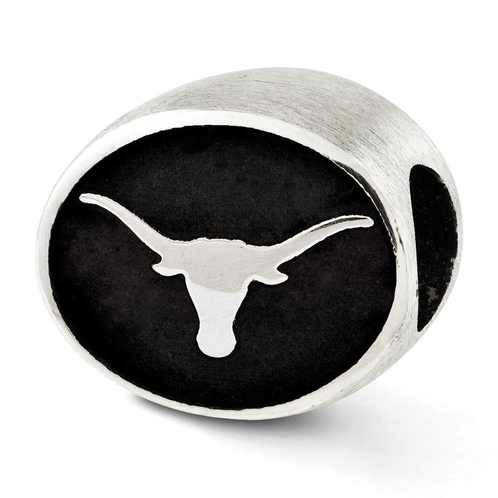 University of Texas Collegiate Charm in Antiqued Sterling Silver, Item B12687 by The Black Bow Jewelry Co.