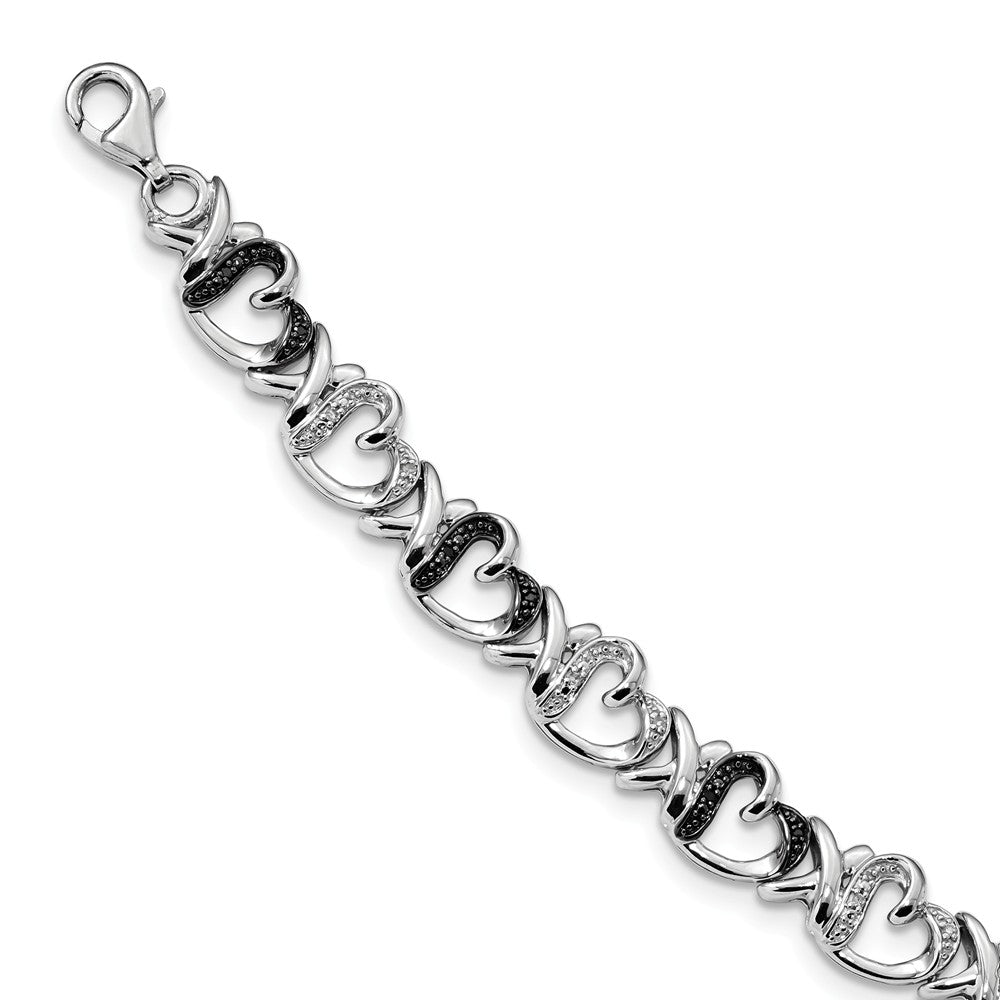 Black & White Diamond 9mm X Heart Sterling Silver Bracelet, 7.5 Inch, Item B12712 by The Black Bow Jewelry Co.