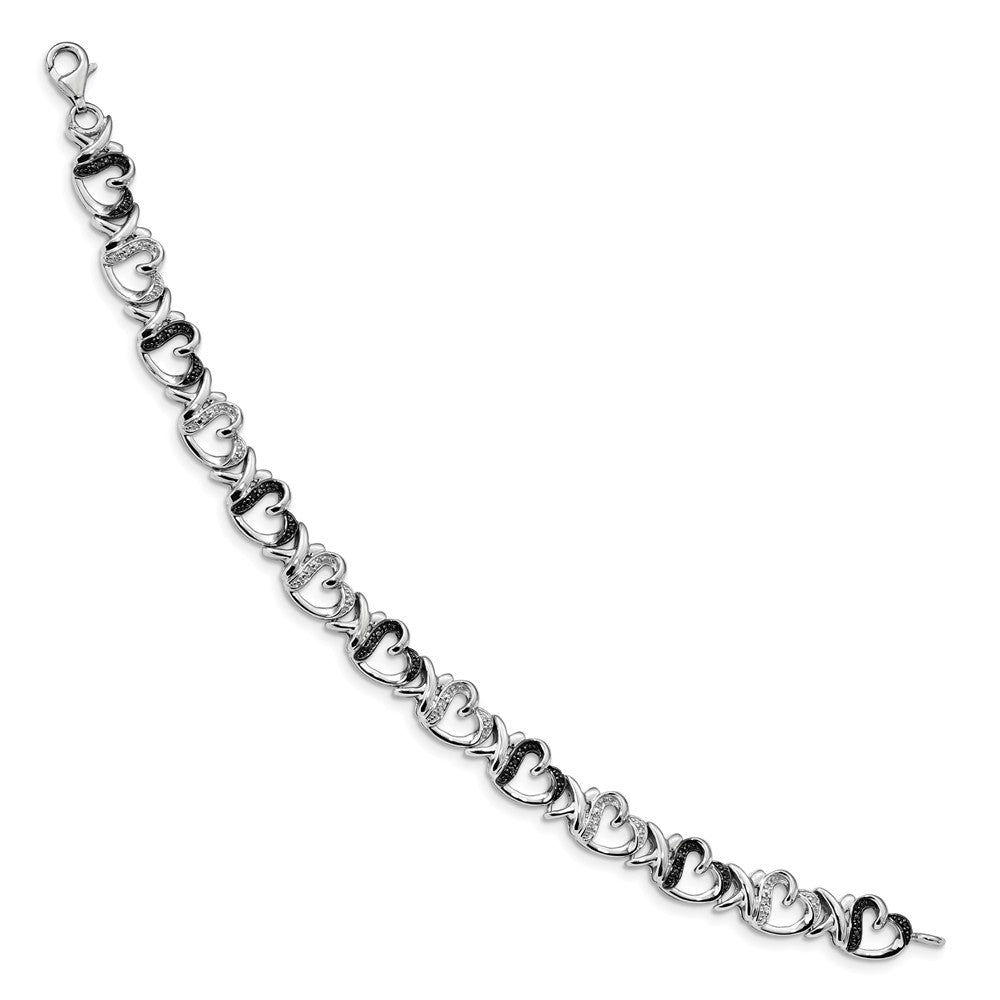 Alternate view of the Black & White Diamond 9mm X Heart Sterling Silver Bracelet, 7.5 Inch by The Black Bow Jewelry Co.