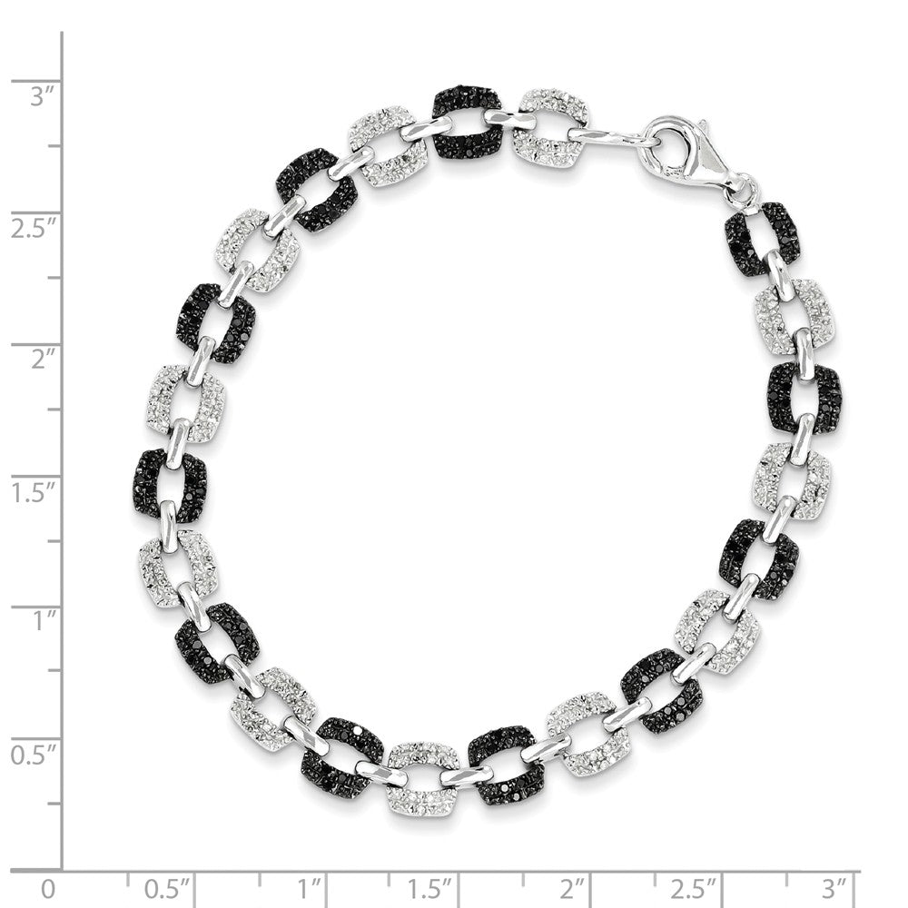 Alternate view of the Black & White Diamond 7mm Square Link Bracelet in Sterling Silver by The Black Bow Jewelry Co.