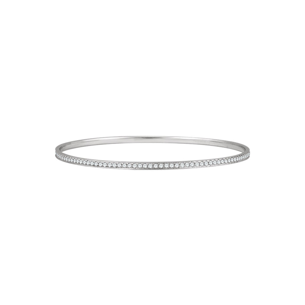 14k White Gold & 1.5 Ctw Diamond 2.5mm Bangle Bracelet, Item B12726 by The Black Bow Jewelry Co.
