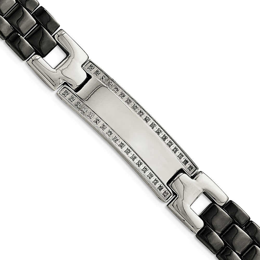 Mens 14mm Stainless Steel, Black Ceramic, Diamond I.D. Bracelet 8.75in, Item B12751 by The Black Bow Jewelry Co.