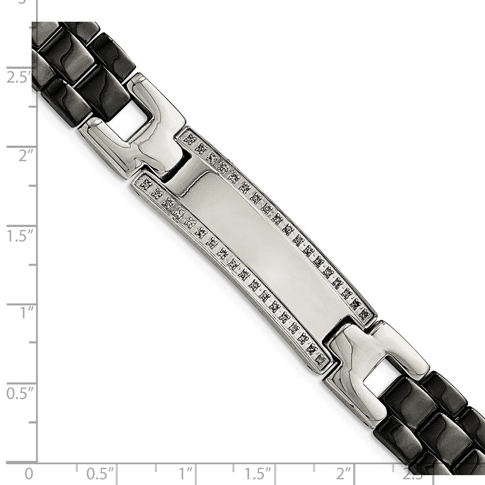 Alternate view of the Mens 14mm Stainless Steel, Black Ceramic, Diamond I.D. Bracelet 8.75in by The Black Bow Jewelry Co.