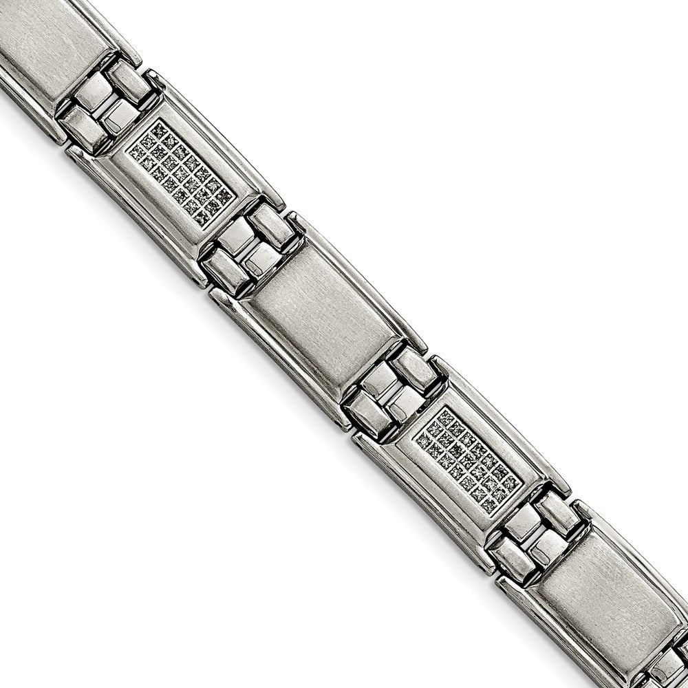 Men's 13mm Stainless Steel & 3/4 Ctw Diamond Link Bracelet, 8.75 Inch, Item B12752 by The Black Bow Jewelry Co.