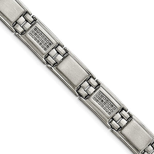 Men's 13mm Stainless Steel & 3/4 Ctw Diamond Link Bracelet, 8.75 Inch - The Black Bow Jewelry Co.