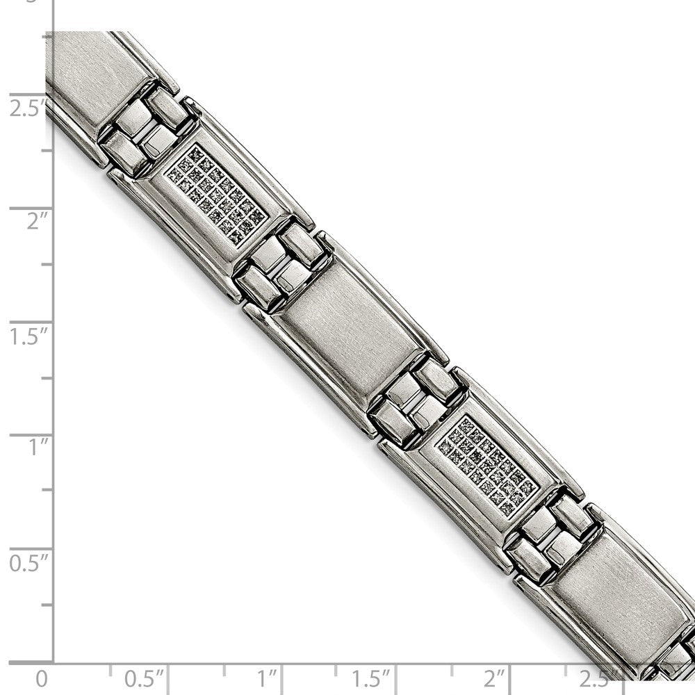 Alternate view of the Men's 13mm Stainless Steel & 3/4 Ctw Diamond Link Bracelet, 8.75 Inch by The Black Bow Jewelry Co.