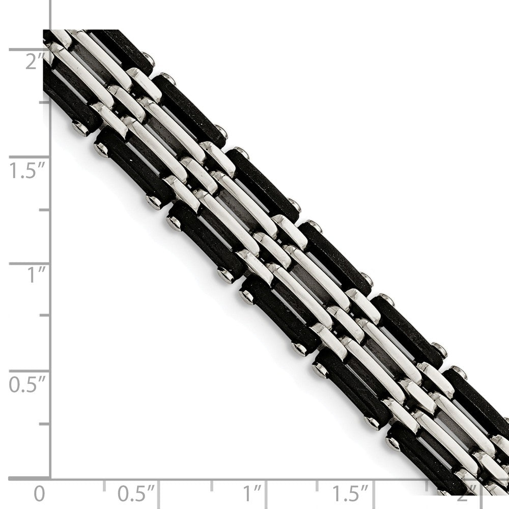 Alternate view of the Men's 12mm Black Rubber & Polished Stainless Steel Bracelet, 8.25 Inch by The Black Bow Jewelry Co.