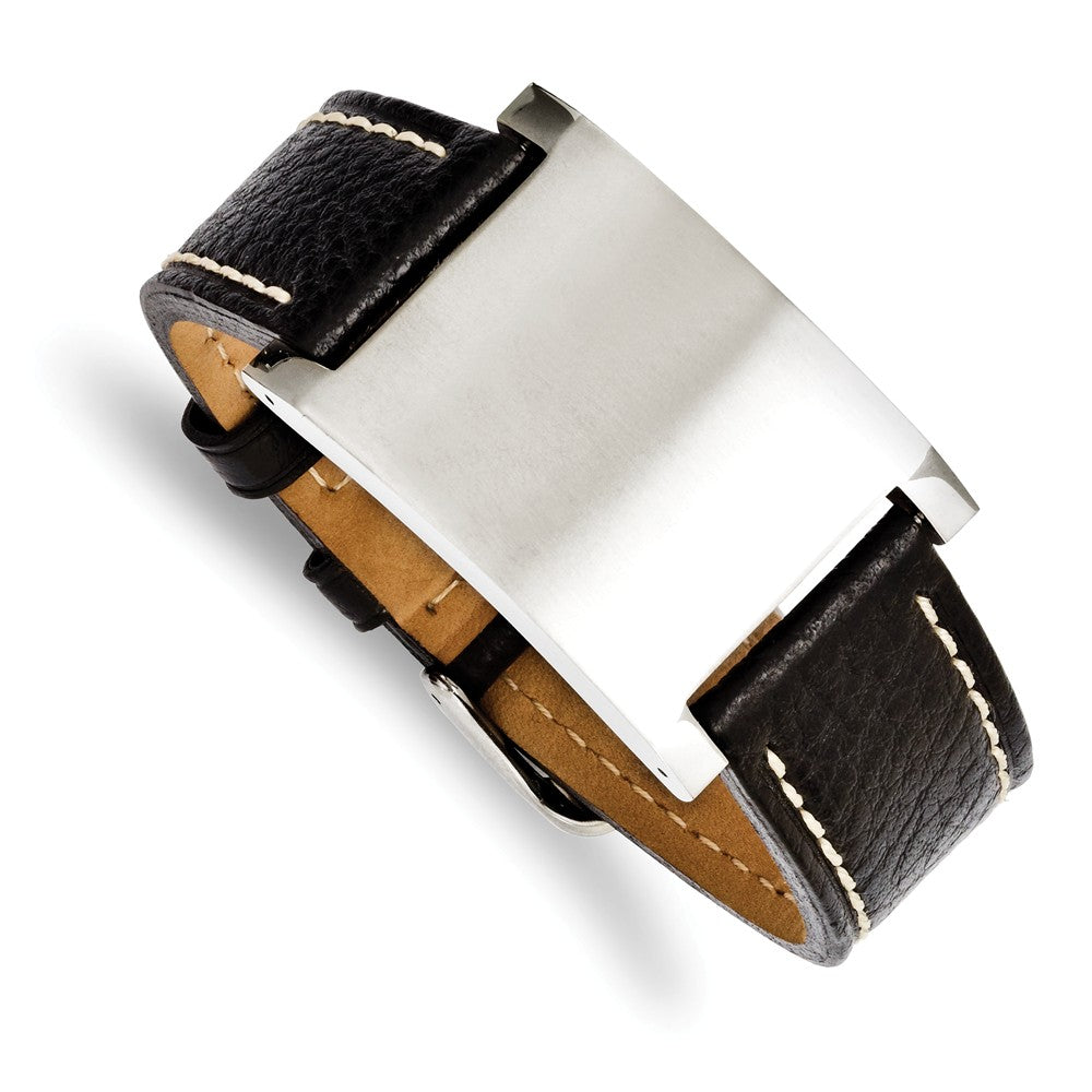 Mens Blk Leather & Brushed Stainless Steel ID Buckle Bracelet, 8.75 In, Item B12799 by The Black Bow Jewelry Co.