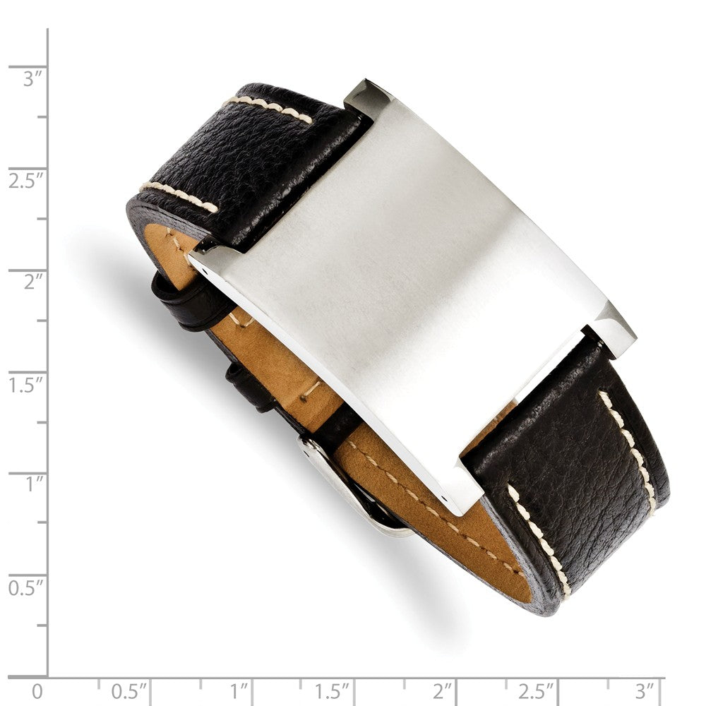 Alternate view of the Mens Blk Leather & Brushed Stainless Steel ID Buckle Bracelet, 8.75 In by The Black Bow Jewelry Co.
