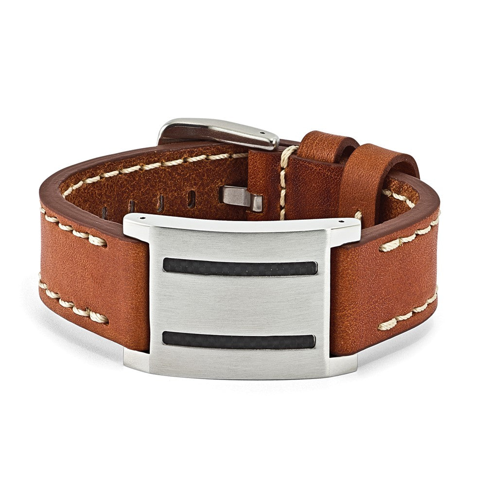 Mens Brown Leather, Carbon Fiber & Stainless Steel ID Buckle Bracelet, Item B12800 by The Black Bow Jewelry Co.