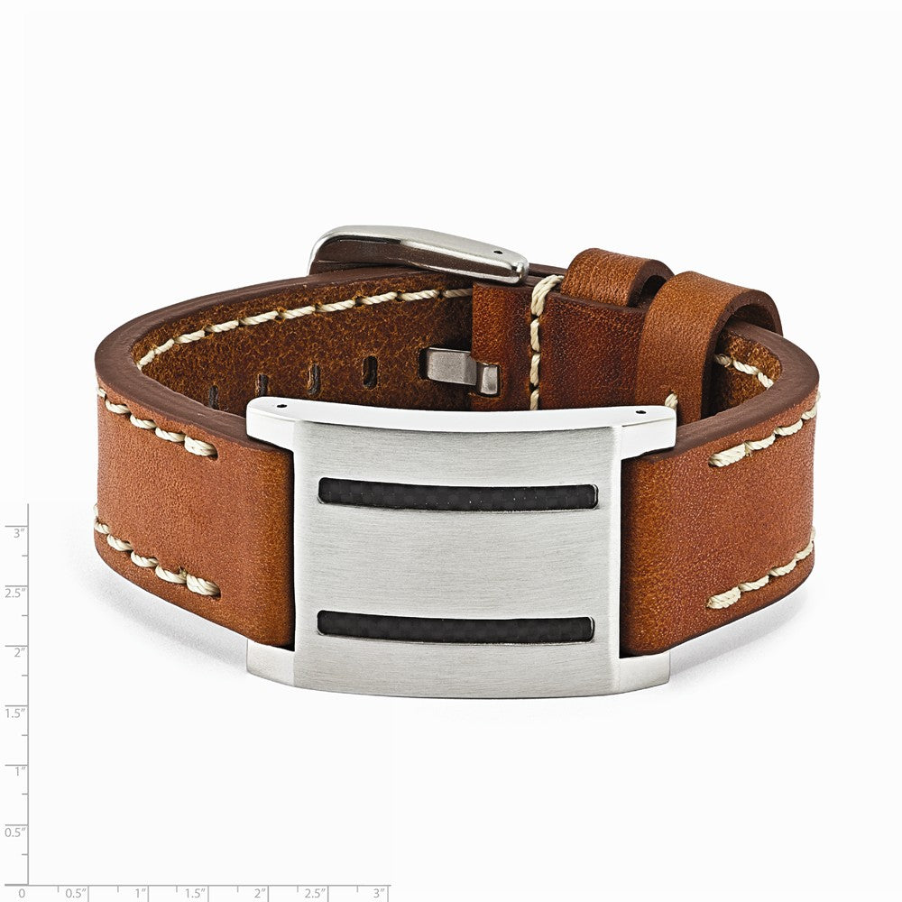 Alternate view of the Mens Brown Leather, Carbon Fiber & Stainless Steel ID Buckle Bracelet by The Black Bow Jewelry Co.