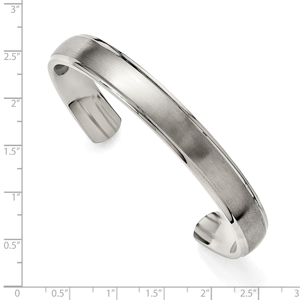 Alternate view of the Mens Stainless Steel 11mm Polished & Brushed Ridged Edge Cuff Bracelet by The Black Bow Jewelry Co.