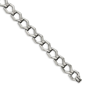 Men's 13mm Polished Stainless Steel Fancy Link Bracelet, 8.5 Inch - The Black Bow Jewelry Co.