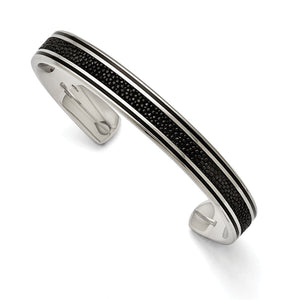 Men's 10mm Stainless Steel, Black Plated & Stingray Cuff Bracelet - The Black Bow Jewelry Co.