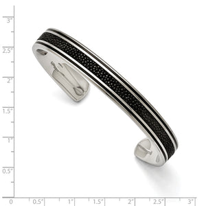Alternate view of the Men's 10mm Stainless Steel, Black Plated & Stingray Cuff Bracelet by The Black Bow Jewelry Co.