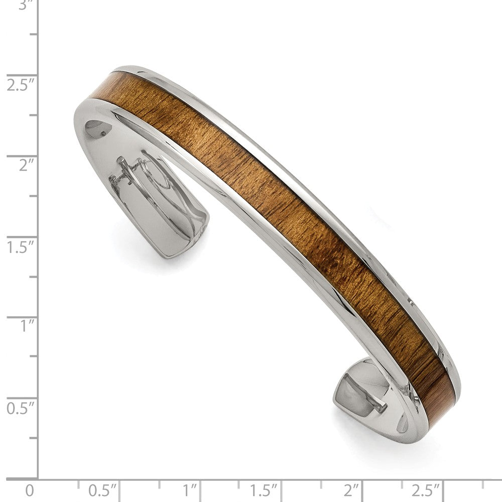 Alternate view of the Men's 10mm Stainless Steel & Enameled Wood Inlay Cuff Bracelet by The Black Bow Jewelry Co.